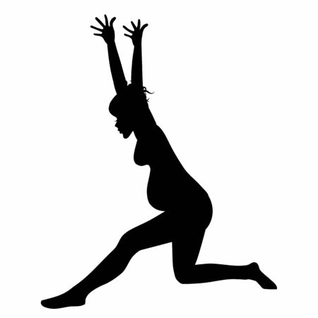 Young pregnant woman silhouette practicing yoga stretching fitness isolated on white background