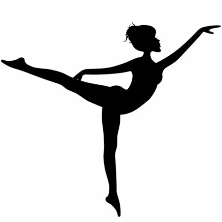 Young woman silhouette in dancing figure isolated on white background. Ballet posture Illustration