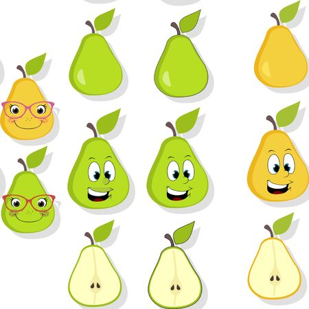 Pear seamless pattern with drop shadow. Cartoon pears with spectacles and freckles over white. Summer fruit background usable for wallpapers, wrapping papers, textile design etc Banco de Imagens