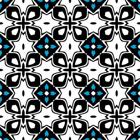 Seamless colored pattern tiling. Textile swatch for cloth, blanket, carpet, wrapping paper. Black, blue and white texture. Geometric tiling design with line waves 免版税图像