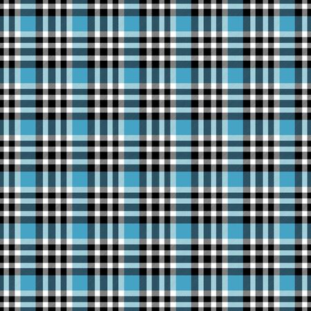 Seamless geometric gingham pattern. Abstract background. Blue, black and white stripes. Chequered pattern for swatch Banco de Imagens