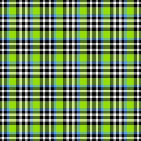 Seamless geometric gingham pattern. Abstract background. Blue, green, black and white stripes. Chequered pattern for swatch Banco de Imagens