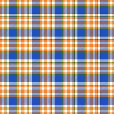 Seamless geometric gingham pattern. Abstract background. Blue, orange, green and white stripes. Chequered pattern for swatch