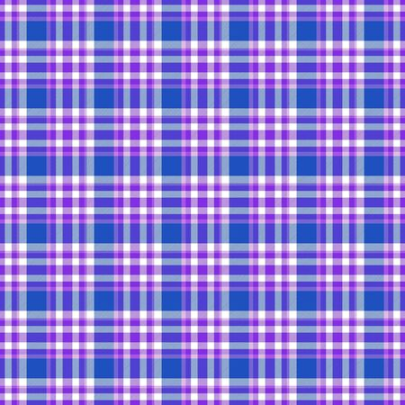 Seamless geometric gingham pattern. Abstract background. Blue, violet, purple and white stripes. Chequered pattern for swatch
