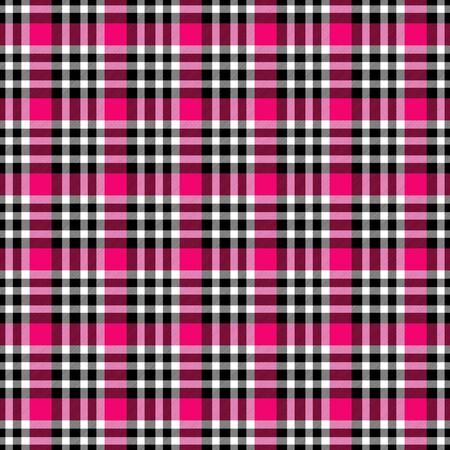 Seamless geometric gingham pattern. Abstract background. Fuchsia, red, black and white stripes. Chequered pattern for swatch