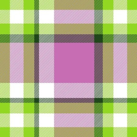 Seamless geometric gingham pattern. Abstract background. Green, pink and white stripes. Chequered pattern for swatch
