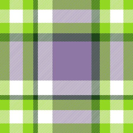 Seamless geometric gingham pattern. Abstract background. Green, violet and white stripes. Chequered pattern for swatch