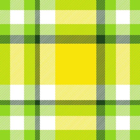 Seamless geometric gingham pattern. Abstract background. Green, yellow and white stripes. Chequered pattern for swatch