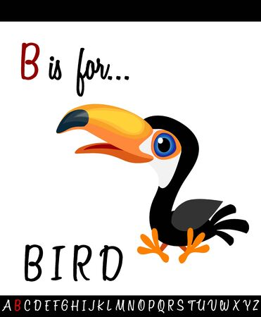 Cartoon Illustration of Capital Letter B with BIRD for Children Education
