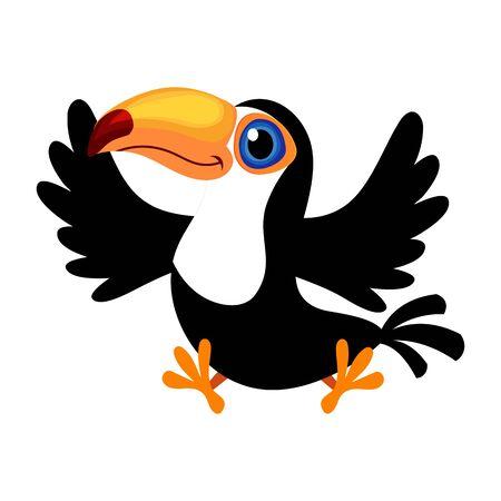 Cartoon toco tucano (Ramphastos toco) noto anche come il tucano comune o il tucano gigante isolato su sfondo bianco Vettoriali