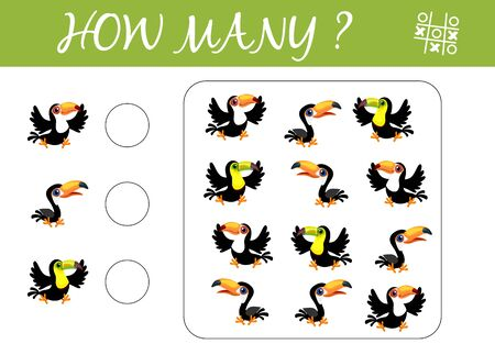 Counting game for preschool children. Simple educational a mathematical game. Count how many toucans and write the result