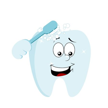 Cartoon tooth cleaning himself with a brush. Dental hygiene concept. Isolated on white background