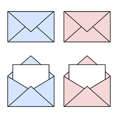 Blue and pink mail linear icons. Open and closed envelopes. E-mail symbol for your web design