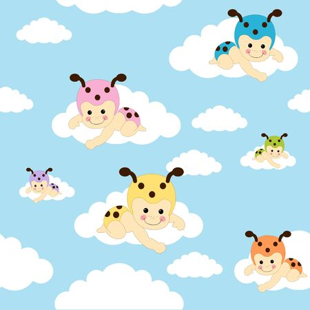 Seamless pattern with baby bugs sitting on clouds over blue sky background. Toddler ladybug tiling or wrapping paper pattern Ilustracja