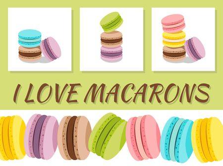 I LOVE MACARONS card with stack of different french cookies macaroons or macarons