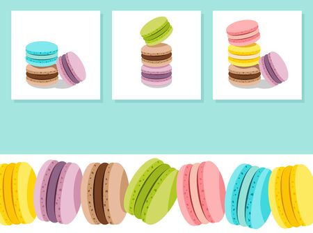 Sweet card with stack of different french cookies macaroons or macarons. Copy space for your text