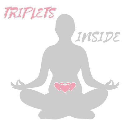 Expecting mother silhouette in yoga pose in multiple pregnancy with triplets isolated on white background. Flat style Illustration