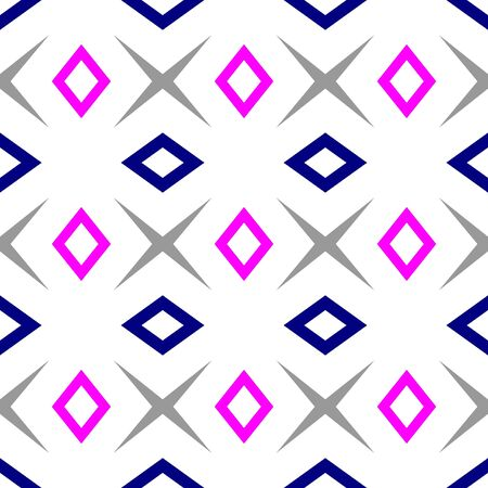 Seamless pattern with colored rhombuses over white background. Textile swatch for cloth, blanket, carpet, wrapping paper. Tileable texture. Geometric outlines tiling design Vectores