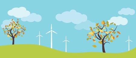 Wind farm in green fields among trees. Ecological or environmental background for presentations, websites and infographics. Simple design drawing