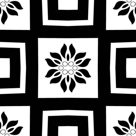 Monochromatic seamless black and white geometric pattern. Repeating modern tiling, wrappping papers, wallpapers etc. Black and white background with fancy elements.  イラスト・ベクター素材