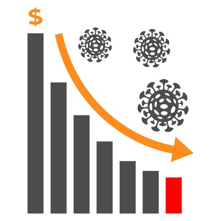 Economic crisis icon with bar graph, coronavirus cell and dolar symbol. Business concept. Graph that shows decrease in sales or earnings because of coronavirus Covid-19 Illustration