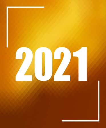 Number 2021 over golden polygonal mosaic background. Concept for year 2021. New Year mosaic backdrop