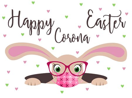 Happy Corona Easter bunny girl with glasses, protection mask and scattered hearts. Funny 2019-nCov novel coronavirus concept