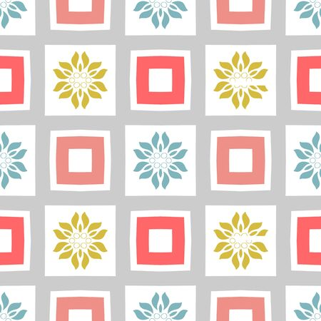 Seamless geometric pattern.  Pastel colored stylish background. Repeating modern tiling background with fancy elements.