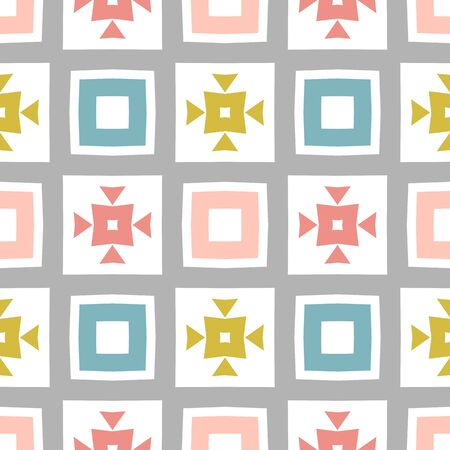 Seamless pastel colored geometric pattern for design, wrapping papers, Abstract background with fancy elements. Repeating stylish tiling. Tileable texture design.