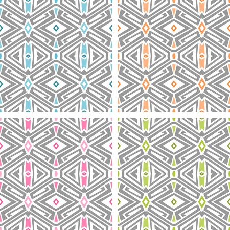 Set of four seamless geometric pattern over white background. Pastel colored tiling for textile design, wrappping papers, wallpapers etc.