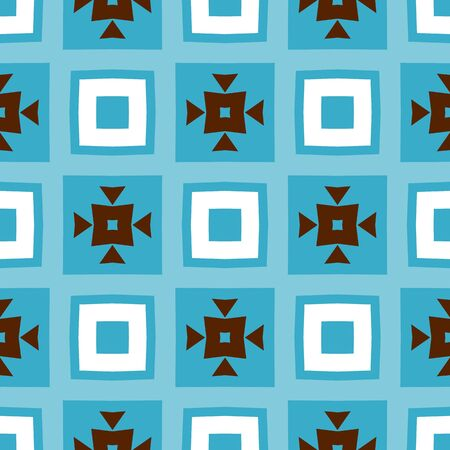 Seamless retro geometric pattern. Modern blue, white and brown background. Repeating stylish tiling. Textile swatch for cloth, blanket, carpet, wrapping paper. Tileable texture design.