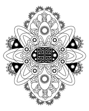 doodling: Vector Beautiful Deco Monochrome Contour Mandala, Patterned Design Element, Ethnic Amulet. Black psychedelic mandala. Doodling style. Illustration