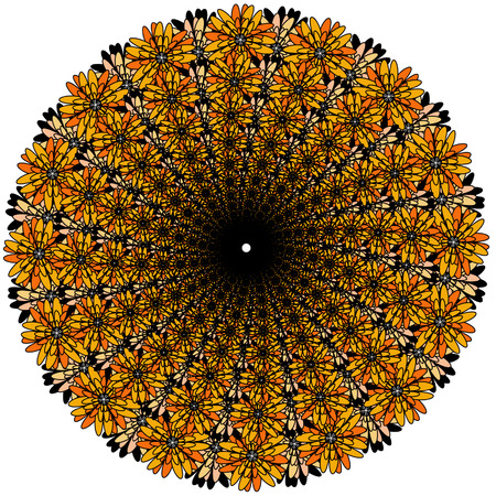 doodling: Vector color monochrome mandala.Contour spirograph, patterned design element, ethnic amulet. Bright psychedelic mandala on a white background. Doodling style.