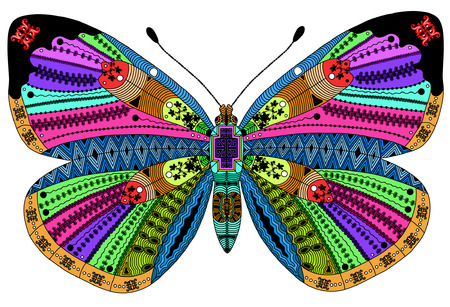butterfly flower: stylized color butterfly. Hand Drawn vector illustration. Coloring books or tattoos with high details isolated on black background. Collection of insects. Psychedelic butterfly pattern.