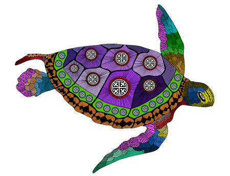 stylized color turtle. Hand Drawn vector illustration. Coloring books or tattoos with high details isolated on black background. Collection of reptiles. Psychedelic colored turtle. Ilustração