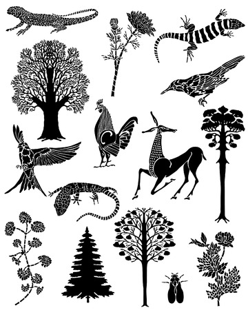 flora fauna: Collection of black tattoos. The flora and fauna. Vector lizards, the trees, the rooster, the antelope, the flowers and the fly. Illustration
