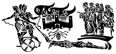 looting: Background in the Greek style. The crowd of unhappy women and elders, the attack on the castle. The kidnapping, the capture of the. Military looting and murder. Illustration