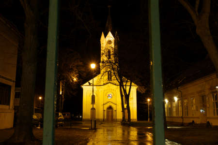 Evangelical church in Martin Slovakia at night