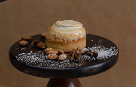 tart cake served on a stand