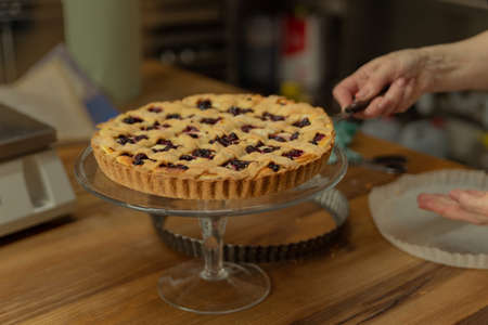 female hand spreads the cake on a stand with a pastry spatula
