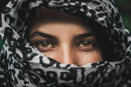 latin girl with brown eyes look, with shroud Stok Fotoğraf