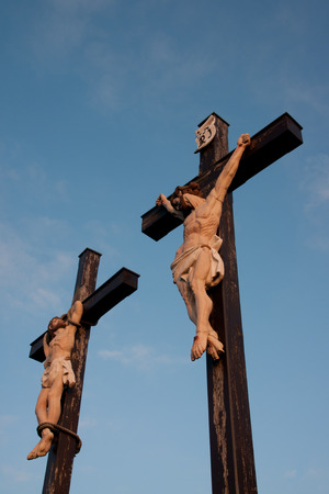 exultation: Two crucifixion with blue sky