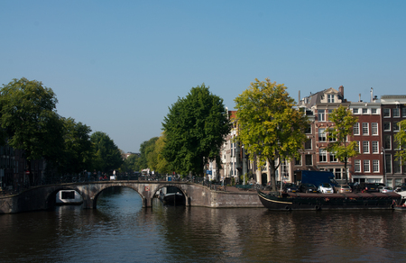 Amsterdam canals in the netherland city Amsterdam Stock Photo