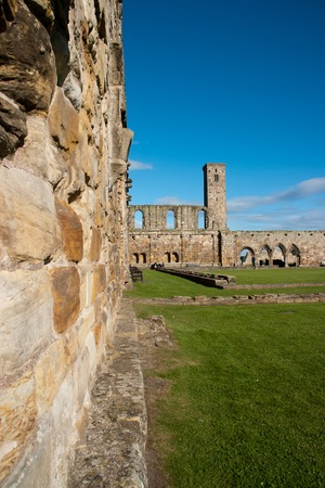 Wall of the ruins of St. Andrews in Scotland