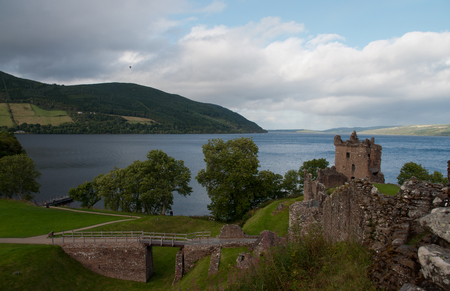 loch ness: Urquhart Castle with the view on Loch Ness in Scotland