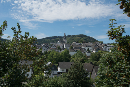 Landscape with the town Hallenberg in the Rothaargebrige, Germany