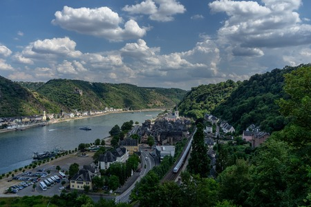 View to the german village St. Goarhausen with the river rhine and castle Katz