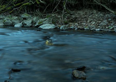 Time exposure of the river Orke in the german Rothaargebirge Stock Photo
