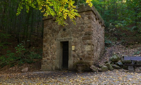 Tower of the spring called Prinzess Quelle at autumn Stock Photo