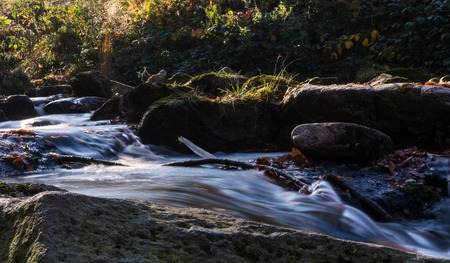 Time exposure of a river called Ilsefaelle in the german region Harz at autumn